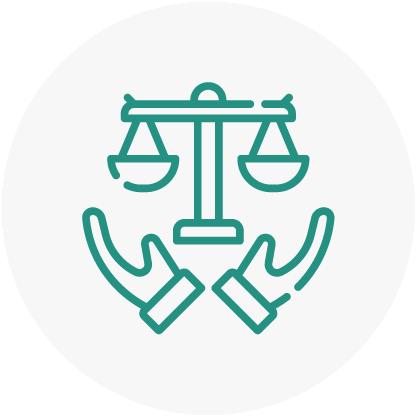 Icono respeto por las leyes y derechos humanos